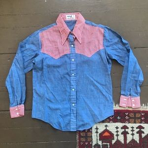 Vintage western chambray shirt w gingham